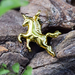 Fine Jewelry 18 Kt Real Solid Yellow Gold Vintage Unicorn Horse Necklace Pendant