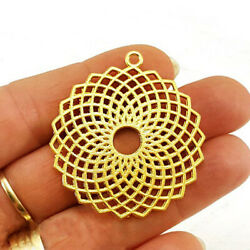 22 K Real Solid Yellow Gold Turkish Fretwork Geometric Necklace Oriental Pendant