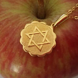 18 K Solid Yellow Gold Jewish Star Of Magen David Judaica Chain Necklace Pendant