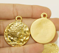 18 Kt Real Solid Yellow Gold Roman Caesar Coin Medallion Chain Necklace Pendant