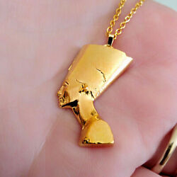 18 Kt Real Solid Yellow Gold Nefertiti Egyptian Queen Chain Necklace Pendant