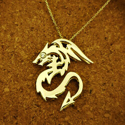 Fine Jewelry 18 Kt Hallmark Real Solid Yellow Gold Chain Necklace Dragon Pendant