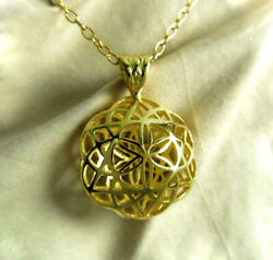 18 Kt Real Solid Yellow Gold Seed Of Life Kabbalah Flower Chain Necklace Pendant