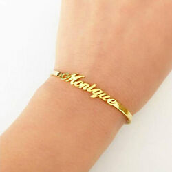 22 Kt Real Solid Yellow Gold Custom Personalized Name Adjustable Bangle Bracelet