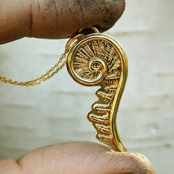 18 Kt Real Solid Yellow Gold Hand Crafted Fiddlehead Fern Chain Necklace Pendant