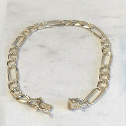 Fine Jewelry 14 Kt Hallmark Real Solid White Gold Figaro Link Menand039s Bracelet