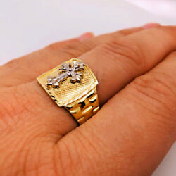 Fine Jewelry 18 Kt Real Solid Yellow Gold Men's Cross Ring Size 8,9,10,11,12,13