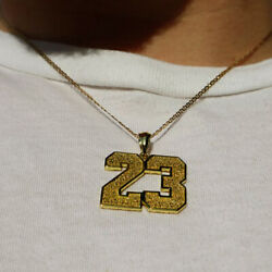 18 Kt Hallmark Real Solid Yellow Gold 23 Number Custom Chain Necklace Pendant