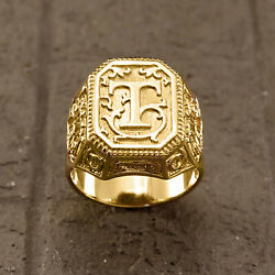 18 Kt Real Solid Yellow Gold Letter Personalized Initial Signet Men's Ring 14 Gm