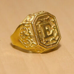 18 Kt Real Solid Yellow Gold Letter Personalized Initial Signet Men's Ring 12 Gm