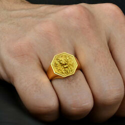 Fine Jewelry 18 Kt Real Solid Yellow Gold Lion Head Menand039s Ring Size 89101112