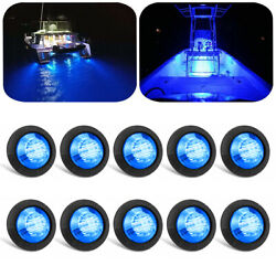 10 X Blue Round Marine Boat Cabin Courtesy Lights Deck Led Walkway Stair Light