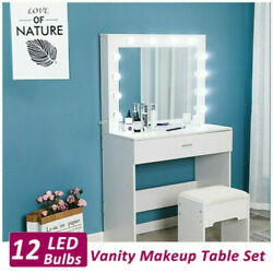 Vanity Set With Lighted Mirror Cushioned Stool Dressing Table Makeup Desks Set