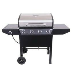 Stainless Steel 4 W/ Side Burner Metal Side Shelves Propane Gas Grill Home Bbq