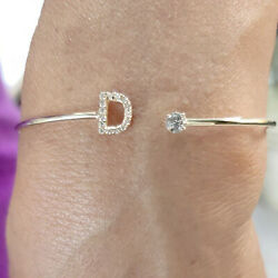 18 Kt Real Solid White Gold Initial Letter Open Cuff Cz Women's Bracelet Bangle