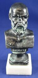 Small Solid Bronze Socrates Bust on Marble Base Nice Detail amp; Light Patina 5quot; $30.00