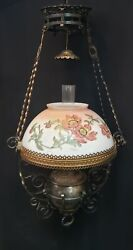 Antique Ornate Brass And Iron B And H Oil Lantern With Chain Yoke