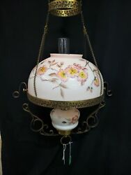 Antique Ornate Queen Anne Hanging Oil Lantern With Hand Painted Shade