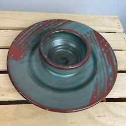 Studio Pottery Chip And Dip Rust And Teal