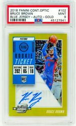 Bruce Brown Jr 2018 Panini Contenders Optic Gold / 10 Psa 9 Rookie Auto Rc