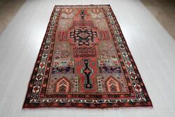 Antique Tribal Area Rug Rustic Red Gray Blue 5x9 Vintage Carpet 8and039 9 X 4and039 8
