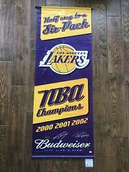 La Lakers Shaq And Horry Signed Budweiser Banner Hung @ Staple Center Beckett Coa