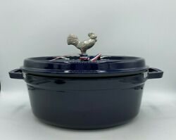 New Staub Oval French Dutch Oven With Rooster Finial 5.75-qt Dark Blue Nib