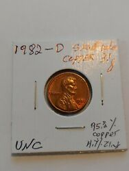 1982 -d Lincoln Copper Small Date 3.1 Gram 95.3copper 4.7 Zinc Nicely Toned Unc