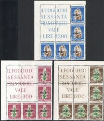 1950 Trieste A Tobacco Block Angle 3 Val N°84/86 Mnh