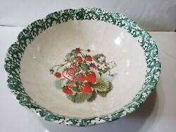 Himark Large Bowl Strawberries Made In Italy Porcelain Heavy Centerpiece 13x5