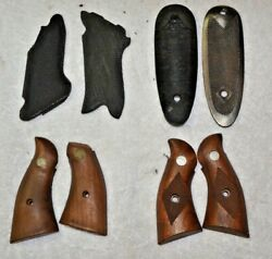 Qty 4 Vintage Ruger Walnut Grips Sets And Extras 097