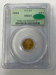 1889 G1 Gold Dollar Pcgs Ms 64 Cac Ogh Old Green Holder