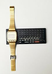 Rare Mint Condition Vintage Gold Plated 1984 Seiko Uw02 Lcd Wrist Computer Set