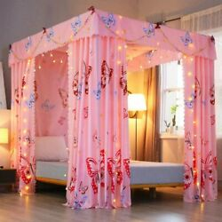 Mengersi Princess Four Corner Post Bed Curtain Canopy Mosquito Net For Girls Kid