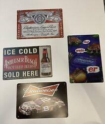 Budweiser Tin Metal Signs 4 Pack Frogs Logo Dale Earnhardt Bud Light Man Cave