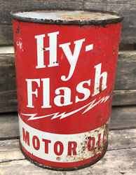 Vtg 1950s Hy-flash Motor Oil 1 Quart Oil Can Tin Gas And Oil Station Uncommon