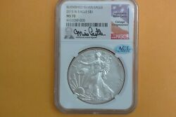 2015-w Burnished Silver Eagle Ngc Ms 70 Mike Castle Hand Signed Ace Verified