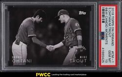 2018 Topps On Demand B And W Candid Moments Shohei Ohtani Mike Trout Psa 10