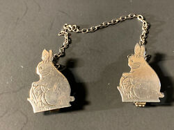 Vintage/antique English Sterling Silver Double Rabbit Bunny Sweater Clip