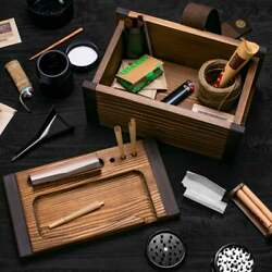 Large Wooden Stash Box Rolling Tray Kit For Herbs And Accessories - Handcrafted