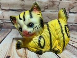 Vintage 70and039s Yellow Tabby Cat Figurine Ceramic Bisque Kitten Soval Artesania