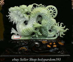 19.2 Chinese Natural Xiu Jade Carved Fengshui Year Dragon Wealth Statue