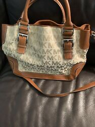 michael kors crossbody Canvas And Leather Monogram Tote Adjustable Strap $59.00