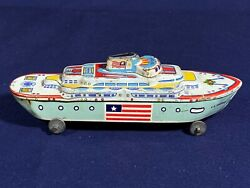 Vintage S.s. America 7 Tin Toy Ship Wyandotte Toys Boat Usa Lithograph Graphics
