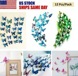 12Pcs 3D Butterfly Wall Stickers PVC Art Decal Room Home Party Decor Kids DIY US