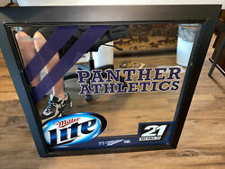 Pittsburgh Panthers Miller Lite Beer Mirror Sign Advertisement 27.5x28 7500