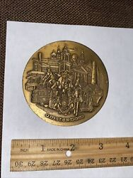 Double Sided Heavy 3dish Brass Bronze Medal - Memphis And Amsterdam Elvis Presley