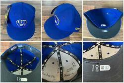 Mike Moustakas Game Used 2018 Nlds Game 2 New Era Hat Brewers Huge Inscription