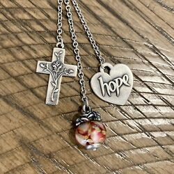 James Avery Retired Charms On Cascading Charm Necklace, Rose Glass Finial, Hope