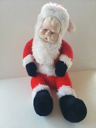 Vintage Large Superior Toy And Novelty Santa Claus Sitting With Rubber Face A11